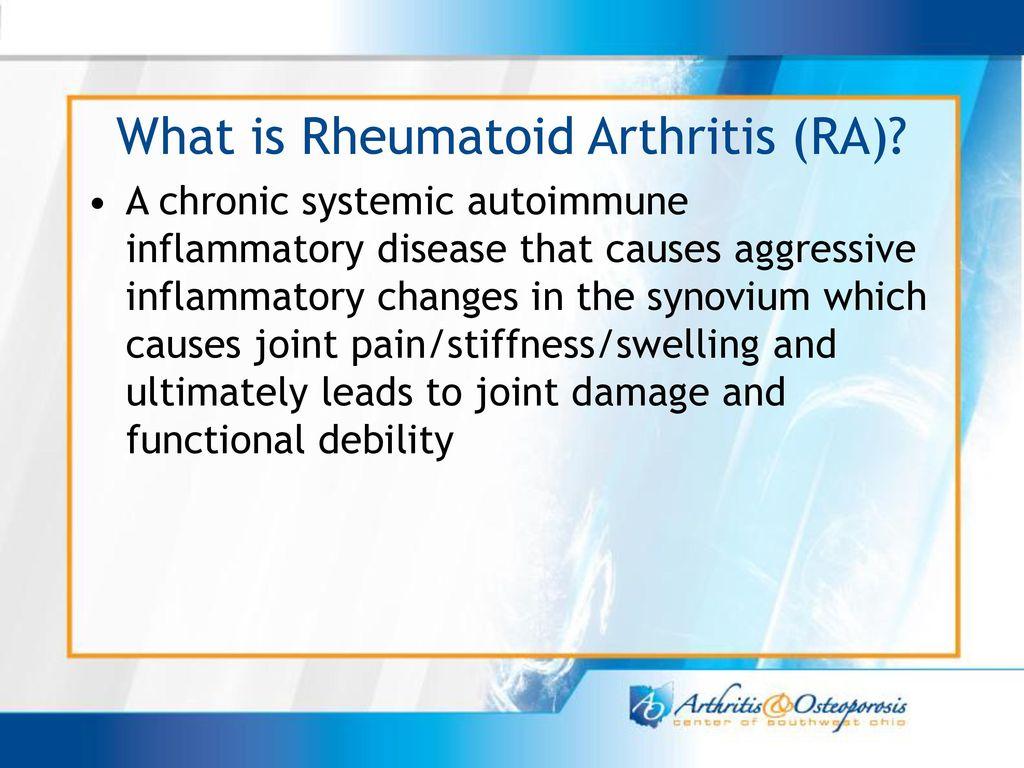 rheumatoid arthritis ppt gyógyszerek a csípőízület gyulladásáért